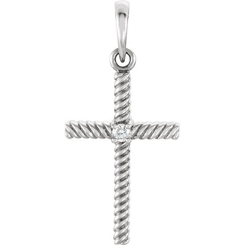 14kt White Gold  .02 CTW Diamond 24.25x11.35mm Rope Design Cross Pendant