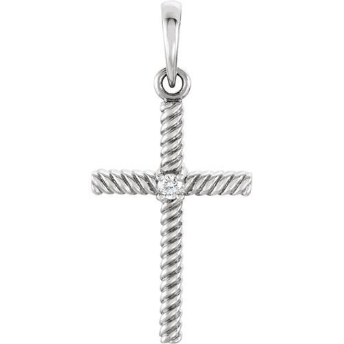 14kt White Gold  .02 CTW Diamond 24.25x11.35mm Rope Design Cross Pendant