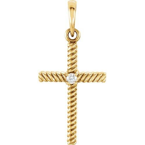 14kt Yellow Gold  .02 CTW Diamond 24.25x11.35mm Rope Design Cross Pendant