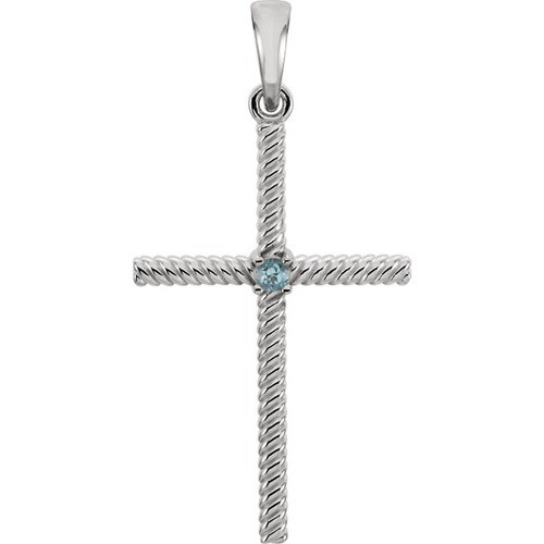 14kt White Gold  Swiss Blue Topaz 31.95x16.3mm Rope Design Cross Pendant