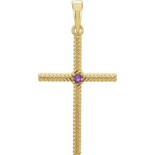 14kt Yellow Gold  Amethyst 31.95x16.3mm Rope Design Cross Pendant