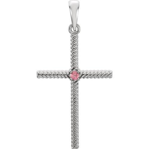 14kt White Gold  Pink Tourmaline 31.95x16.3mm Rope Design Cross Pendant