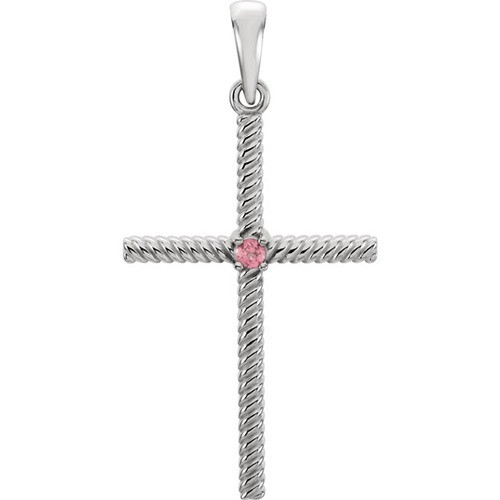 14kt White Gold  Pink Tourmaline 31.95x16.3mm Rope Design Cross Pendant