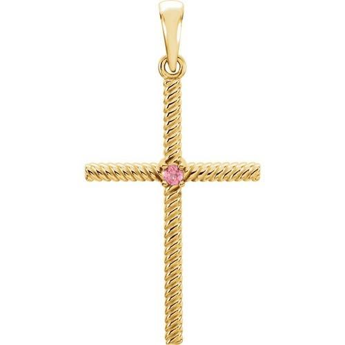 14kt Yellow Gold  Pink Tourmaline 31.95x16.3mm Rope Design Cross Pendant