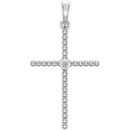 14kt White Gold  .03 CTW Diamond Beaded Cross Pendant