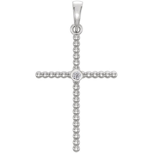 14kt White Gold  .03 CTW Diamond Beaded Cross Pendant