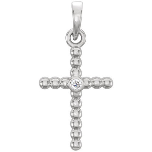 14kt White Gold  .015 CTW Diamond Beaded Cross Pendant