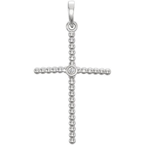 14kt White Gold  .02 CTW Diamond Beaded Cross Pendant