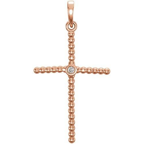14kt Rose Gold  .02 CTW Diamond Beaded Cross Pendant