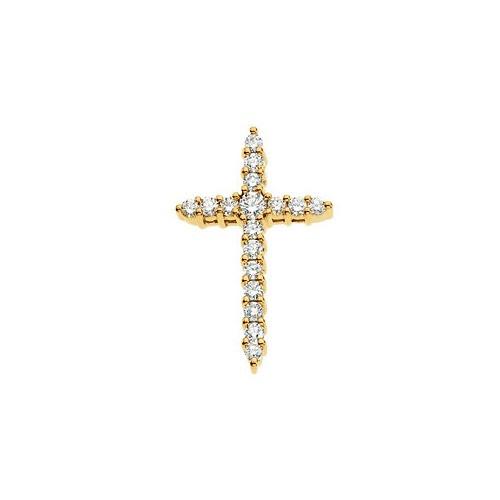 14kt Yellow Gold Diamond Cross Pendant 1.09 Grams