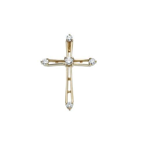 14kt Yellow Gold 1/3 CTW Diamond Cross Pendant 2.28 Grams