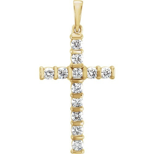14kt Yellow Gold Diamond Cross Pendant 1.85 Grams