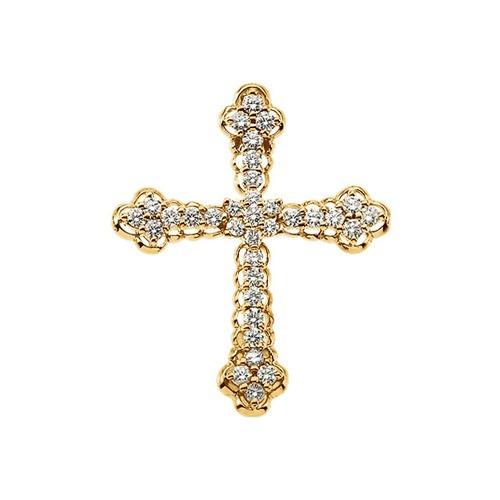 14kt Yellow Gold 1 CTW Diamond Cross Pendant 4.06 Grams