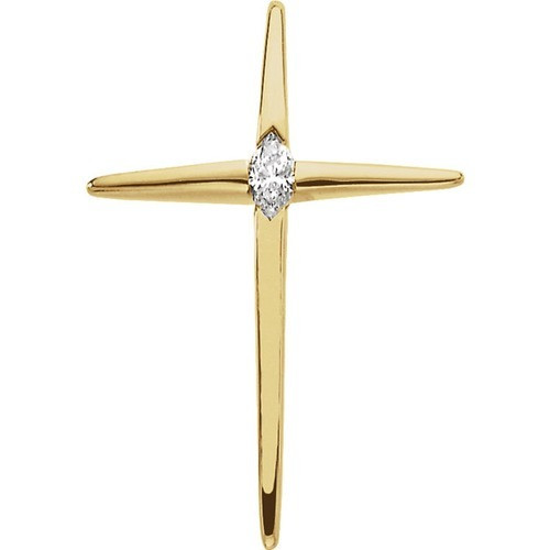 14kt Yellow Gold  4.5x2.5mm Marquise Cross Pendant