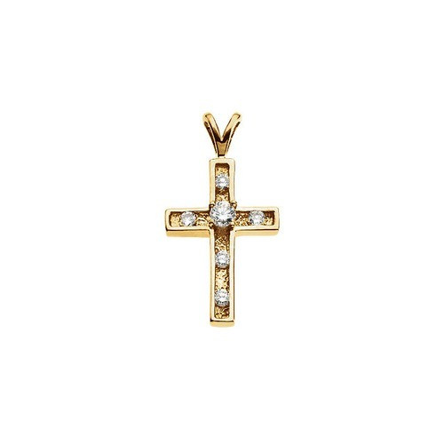 14kt Yellow Gold  21X14 Diamond Cross Pendant