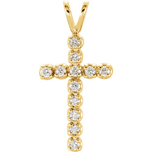 14kt Yellow Gold  1/8 CTW Diamond Cross Pendant