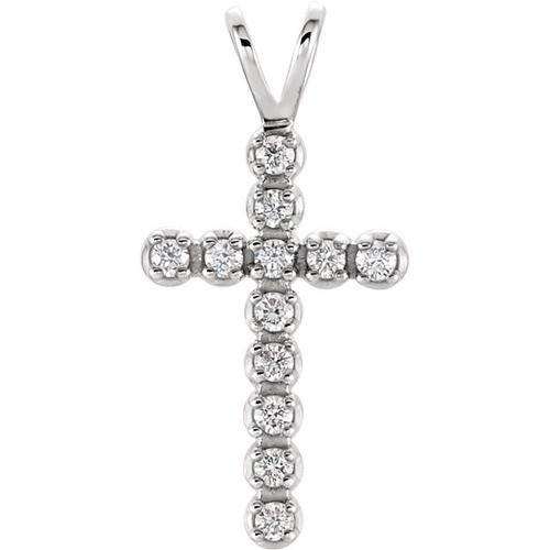 14kt White Gold  1/8 CTW Diamond Cross Pendant