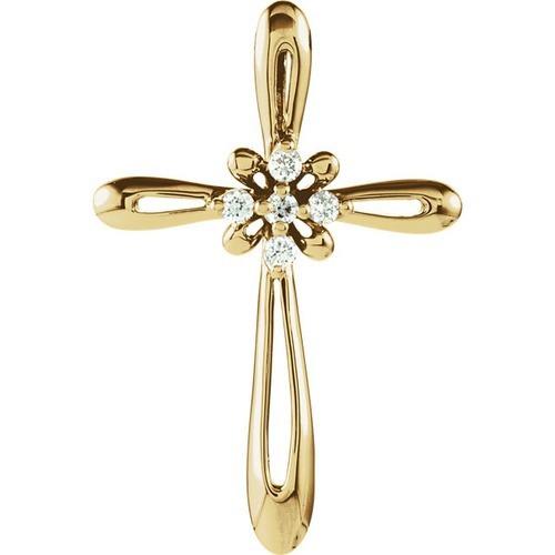 14kt Yellow Gold  26x19 Diamond Cross Pendant