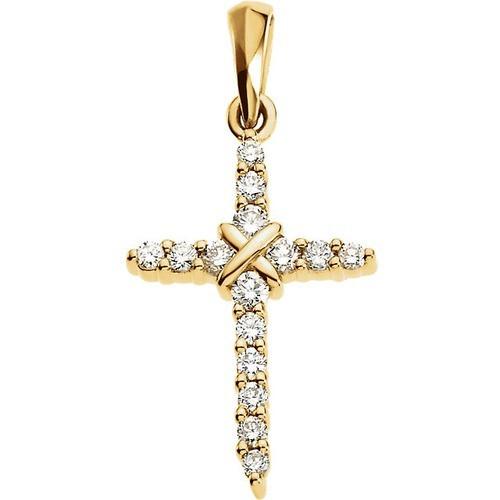 14kt Yellow Gold  .23 CTW Diamond Cross Pendant