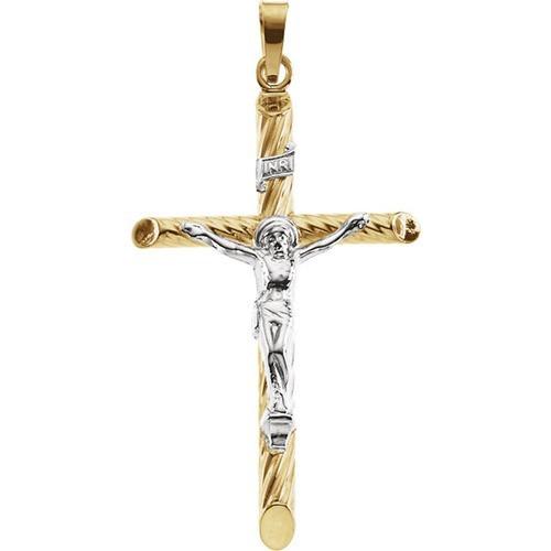 14kt Yellow/White Two Tone Crucifix Pendant 33X21