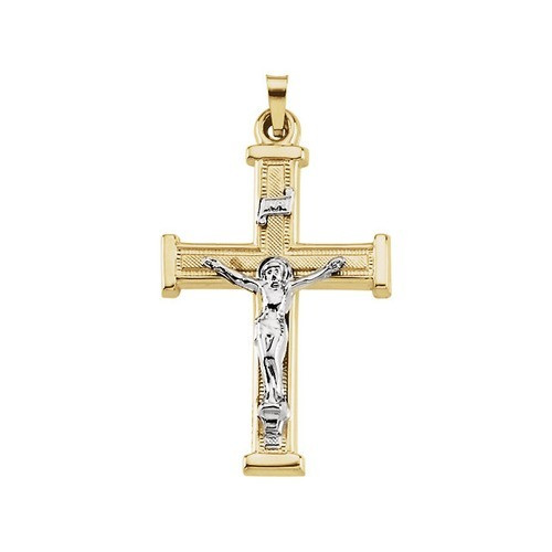 14Kt Yellow with White Two Tone Crucifix Pendant 25X18