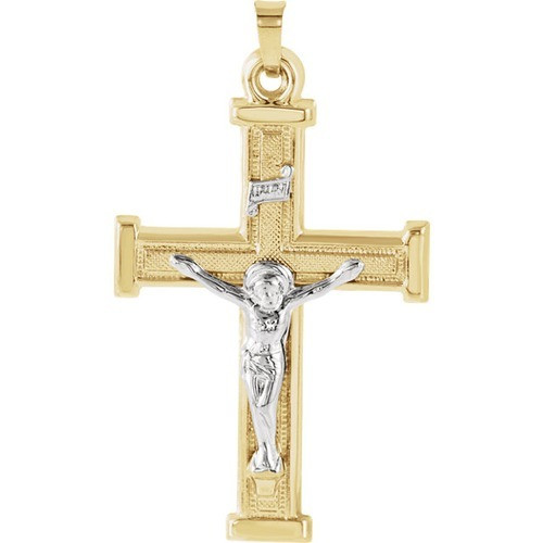 14Kt Yellow with White Two Tone Crucifix Pendant 32X23
