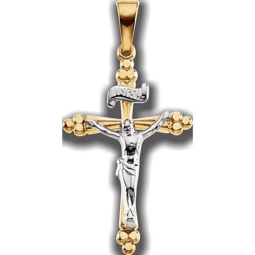 14kt Yellow/White Two Tone Crucifix Pendant 24.25X16.25