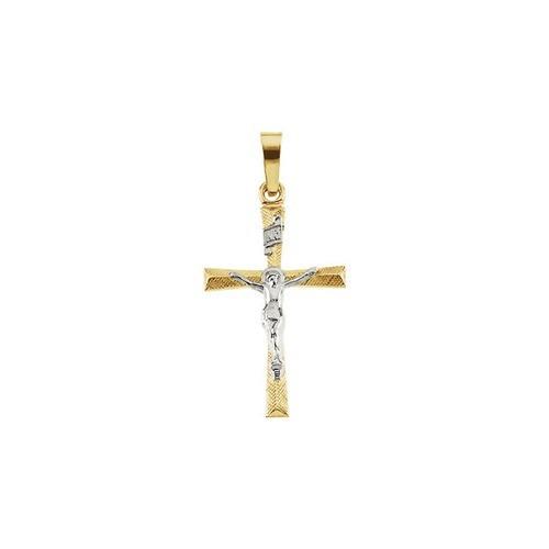 14kt Yellow/White Two Tone Crucifix Pendant 20X14