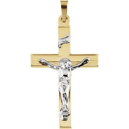 14kt Yellow/White Two Tone Crucifix Pendant 29X19