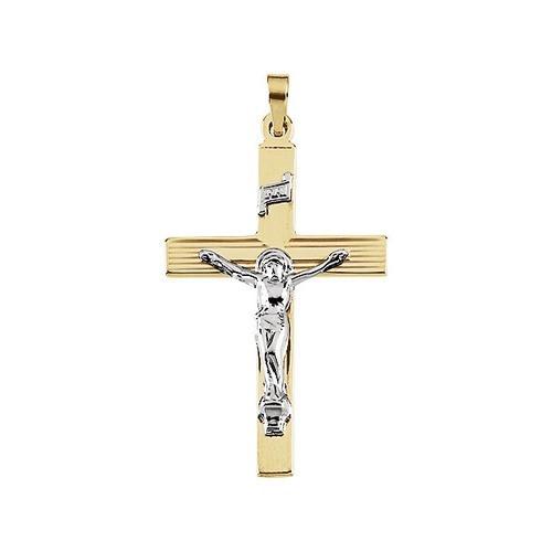 14kt Yellow/White Two Tone Crucifix Pendant 32X21
