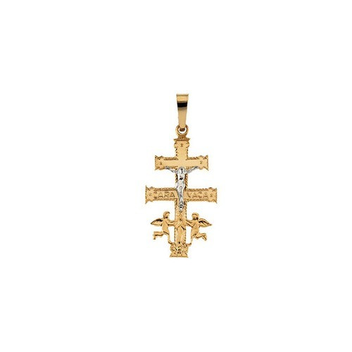 14kt Yellow/White Two Tone Cara Vaca Cross Pendant 30X18