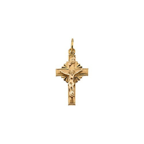 14kt Yellow Crucifix Pendant 15X10