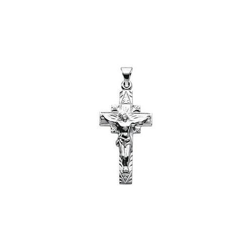 14kt White Crucifix Pendant 29X16.50