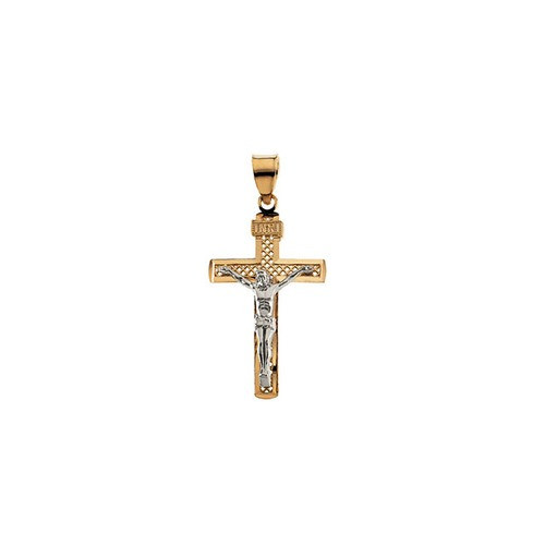 14kt Yellow/White Two Tone Crucifix Pendant 40.50X25.50