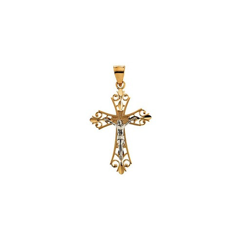 14kt Yellow/White Two Tone Crucifix Pendant 34X24