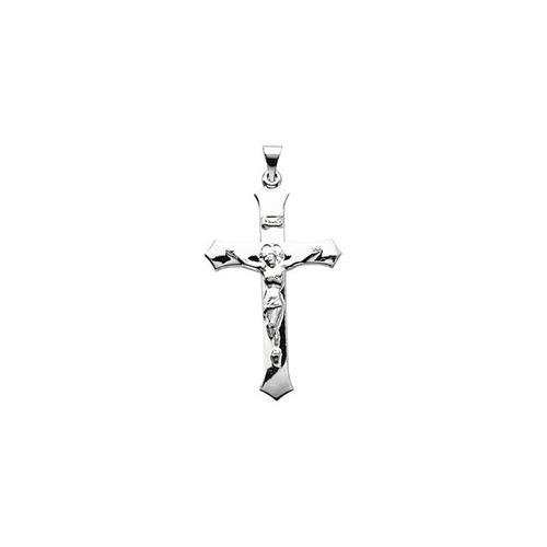 14kt White Crucifix Pendant 39X25.5