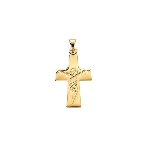 14kt Yellow Crucifix Pendant 23X16