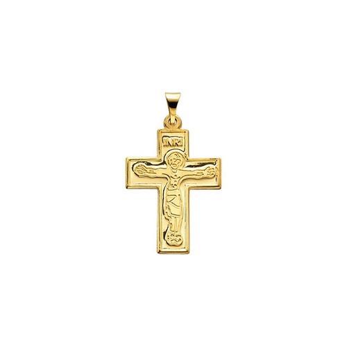 14kt Yellow Crucifix Pendant 23.50X18