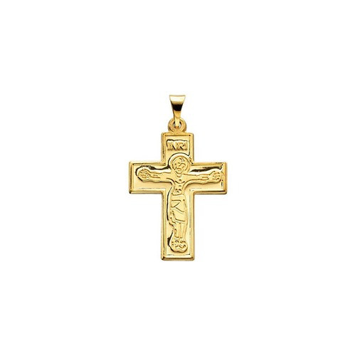 14kt Yellow Crucifix Pendant 23.50X18