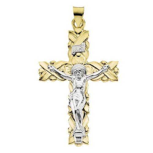 14kt Yellow/White Crucifix Pendant 41.50X28.50
