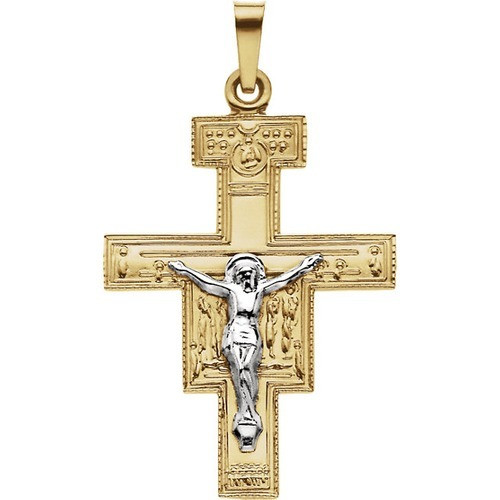 14kt Yellow/White San Damiano Cross Pendant 26X20