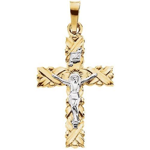14kt Yellow/White Crucifix Pendant 22X15.50