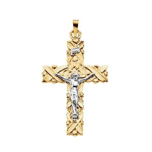 14kt Yellow Crucifix Pendant 34.50X23.50