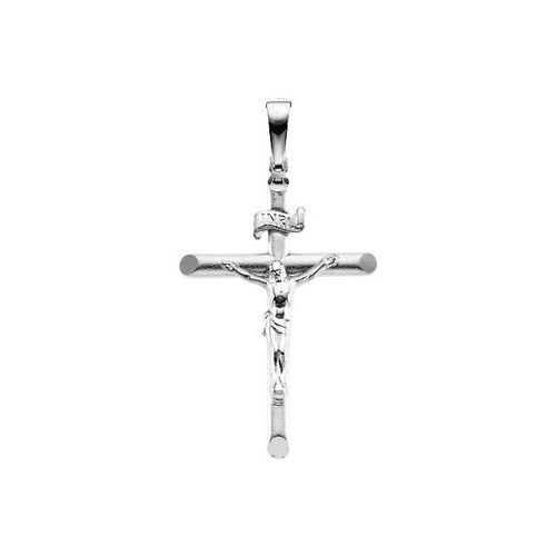 14kt White Crucifix Pendant 26.75X19.0