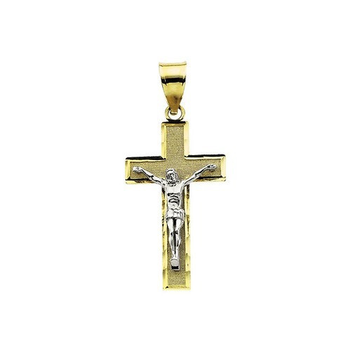 14kt Yellow/White Tt Crucifix Pendant 26.50X15.25