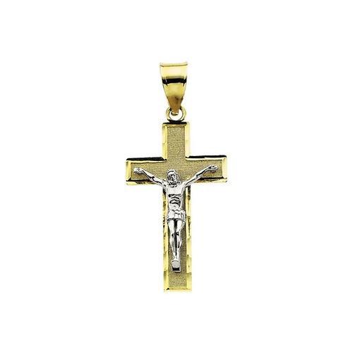 14kt Yellow/White Tt Crucifix Pendant 26.50X15.25
