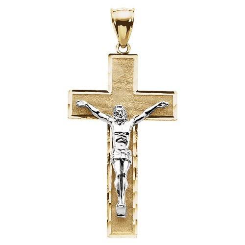 14kt Yellow/White Tt Crucifix Pendant 41X23.75