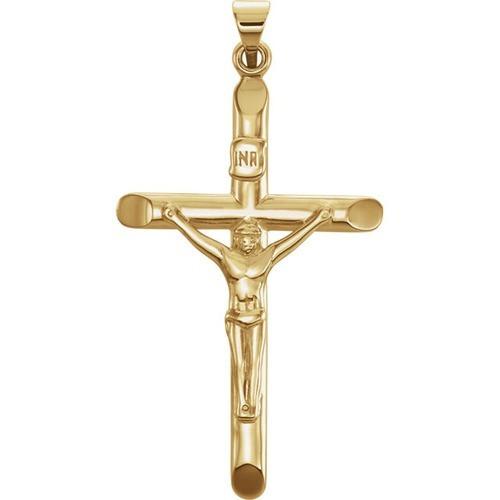 14kt Yellow Crucifix Pendant 35X22