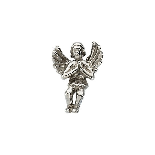 14Kt White Praying Angel Lapel Pin 12X09