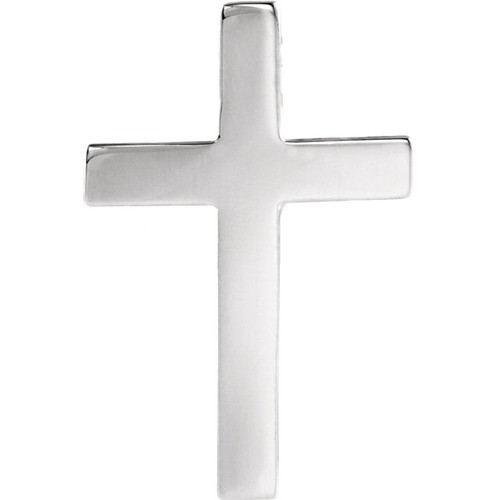 14Kt White Cross Lapel Pin 22X14
